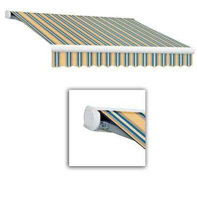 20 ft. Key West Full-Cassette Right Motor Retractable Awning with Remote (120 in. Projection) in Tan/Teal