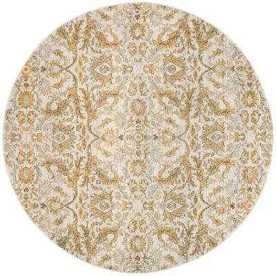 Evoke Ivory/Gold 6 ft. 7 in. x 6 ft. 7 in. Round Area Rug