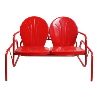 47 in. Plastic Red Retro Tulip Double Outdoor Glider Chair
