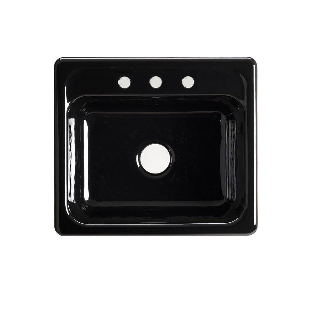 KOHLER Mayfield Drop-In Cast-Iron 25 in. 3-Hole Single Bowl Kitchen Sink in Black Black
