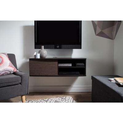 Agora 50-Disk Capacity 38 in. Wide Wall Mounted Media Console in Chocolate and Zebrano