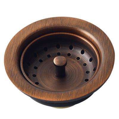 Kitchen Sink 3.5 in. Strainer Drain with Post Styled Basket in Antique Copper