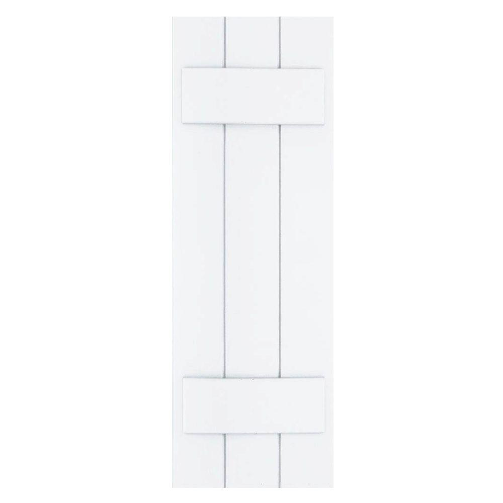 Winworks Wood Composite 12 in. x 35 in. Board & Batten Shutters Pair #631 White