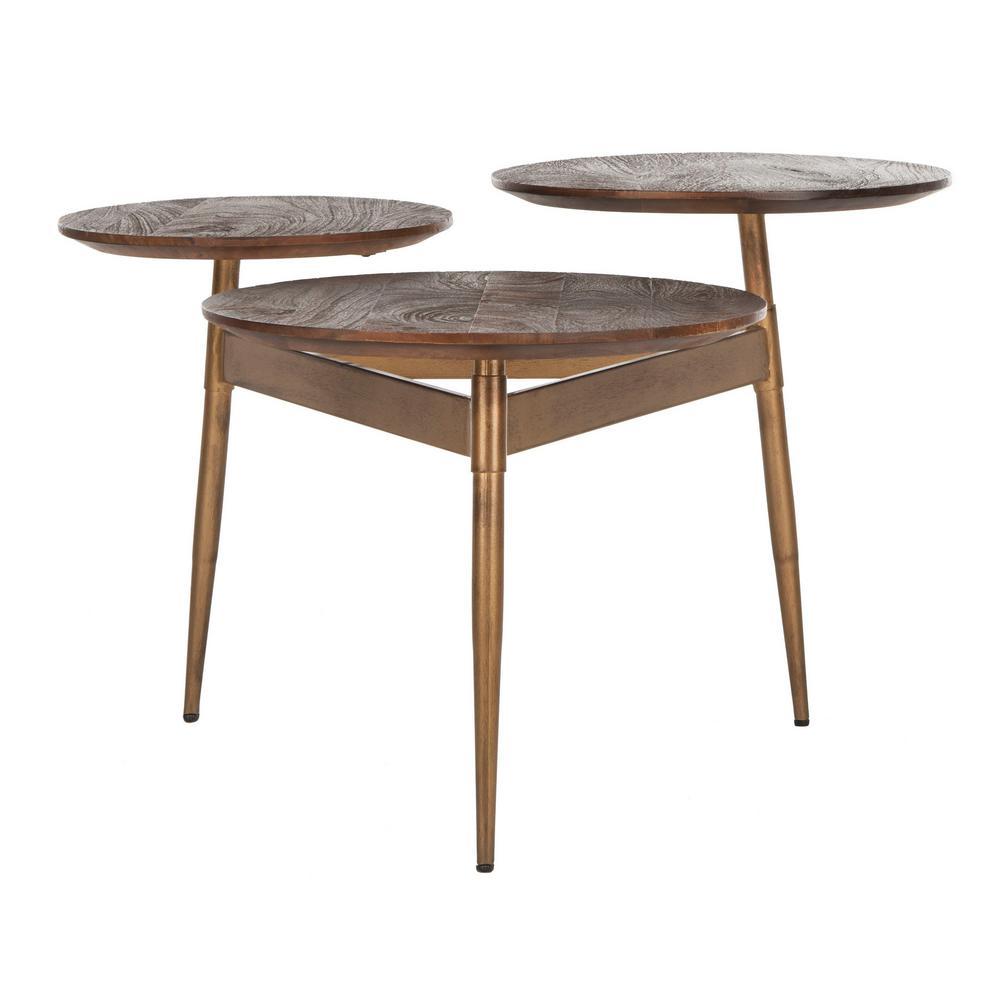 Ian 34 in. Rustic Honey/Gold Medium Round Wood Coffee Table