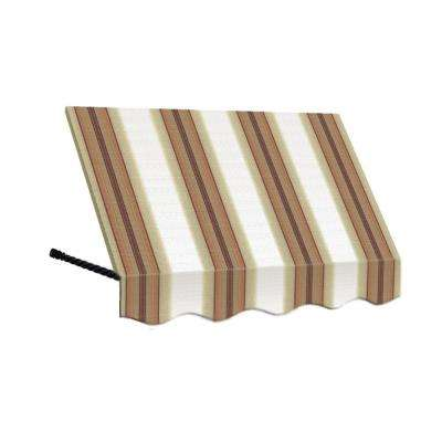 6 ft. Santa Fe Twisted Rope Arm Window Awning (56 in. H x 36 in. D) in White/Linen/Terra Cotta Stripe