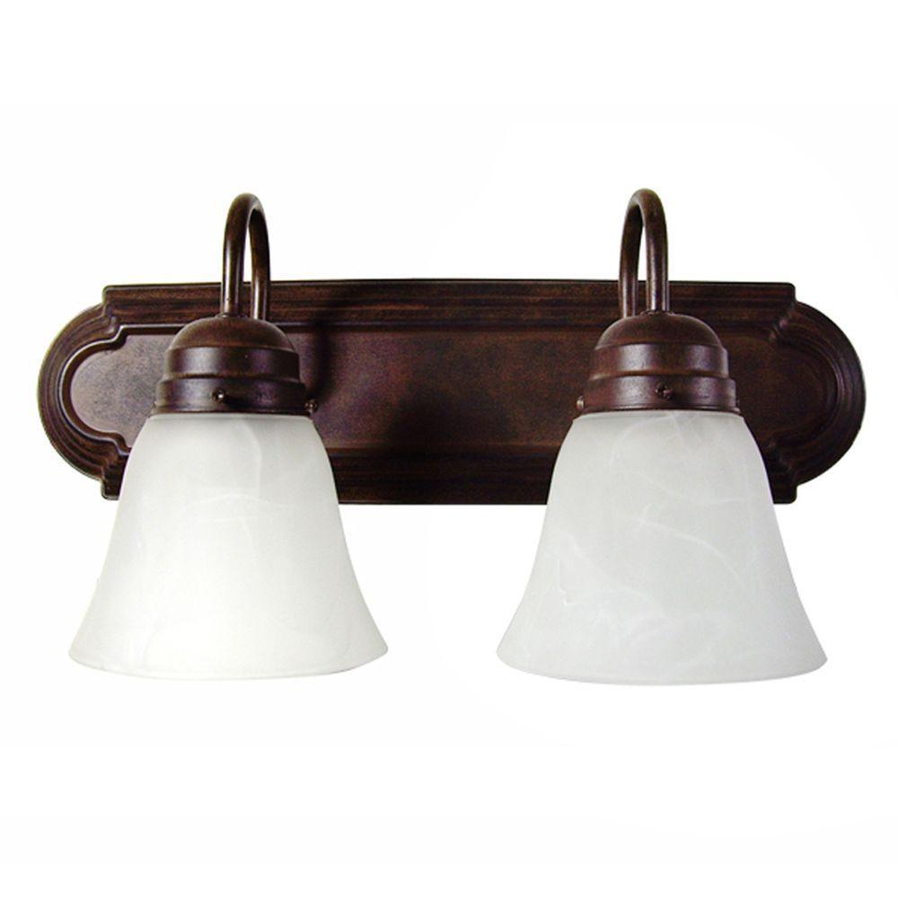 Vanity Lighting Family 2-Light Dark Brown Bathroom Vanity Light with Alabaster Glass Shade