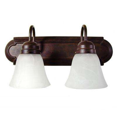 Vanity Lighting Family 2-Light Dark Brown Bathroom Vanity Light with Alabaster Glass Shade