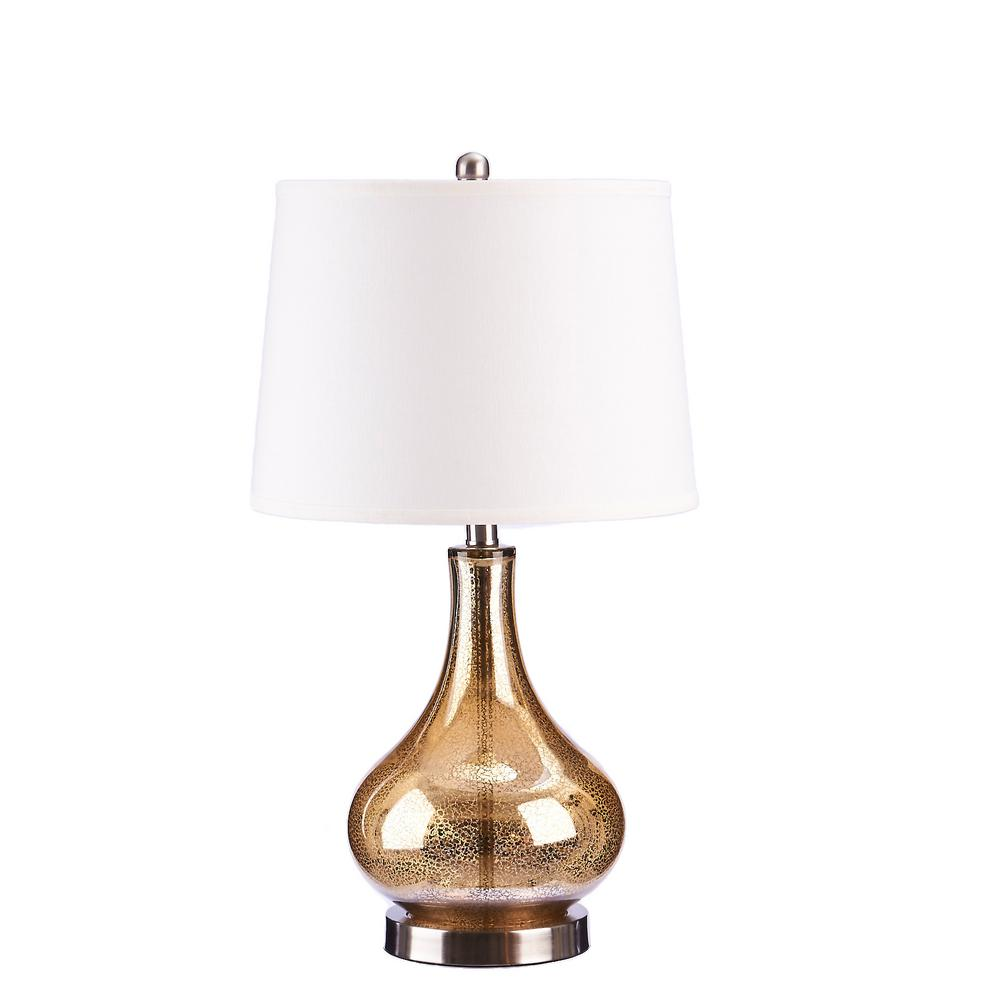 Brushed Steel Gold Mercury Glass Table Lamp With Linen Shade And LED Bulb