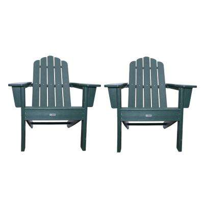 Marina Hunter Green Poly Plastic Outdoor Patio Adirondack Chair (2-Pack)