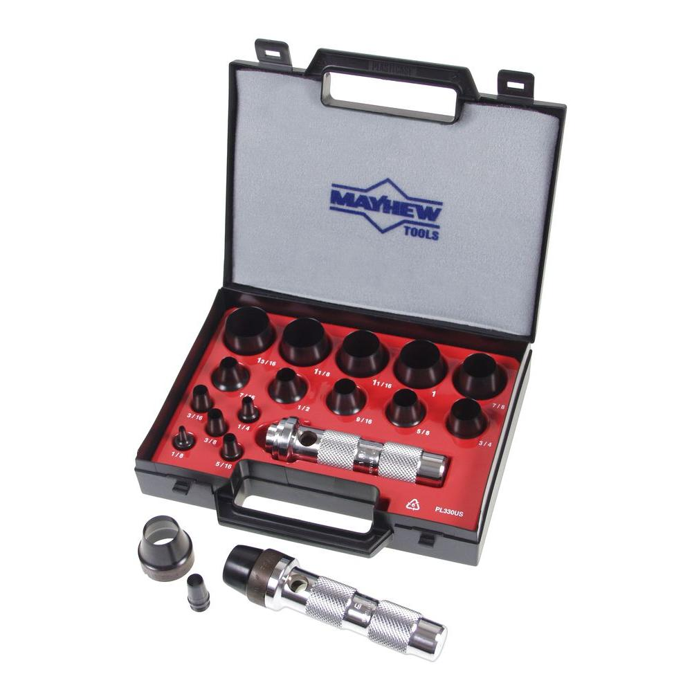 Mayhew 1/8 in. to 1-3/16 in. Imperial Hollow Punch Set (16-Piece ...