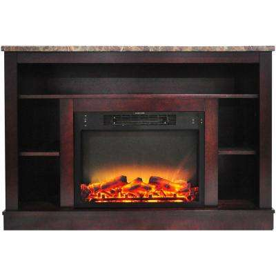 Oxford 47 In. Electric Fireplace with Enhanced Log Insert and Mahogany Mantel
