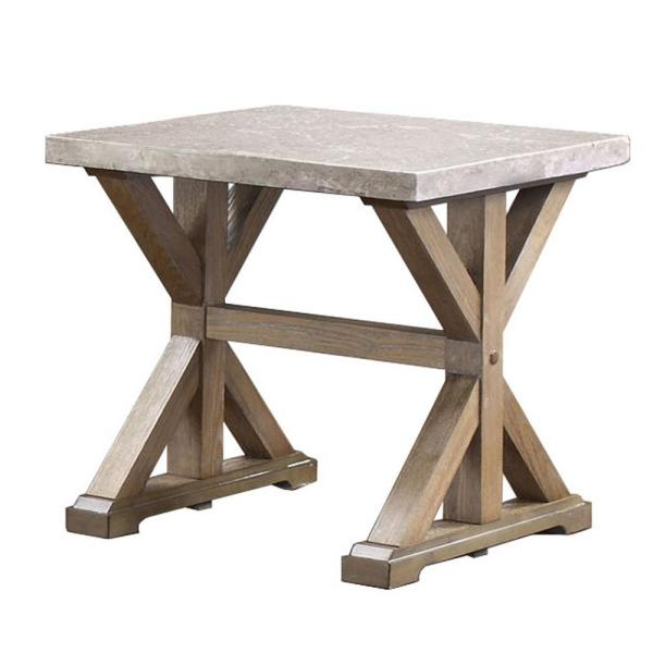 Furniture Of America Landon Natural Genuine Marble End Table