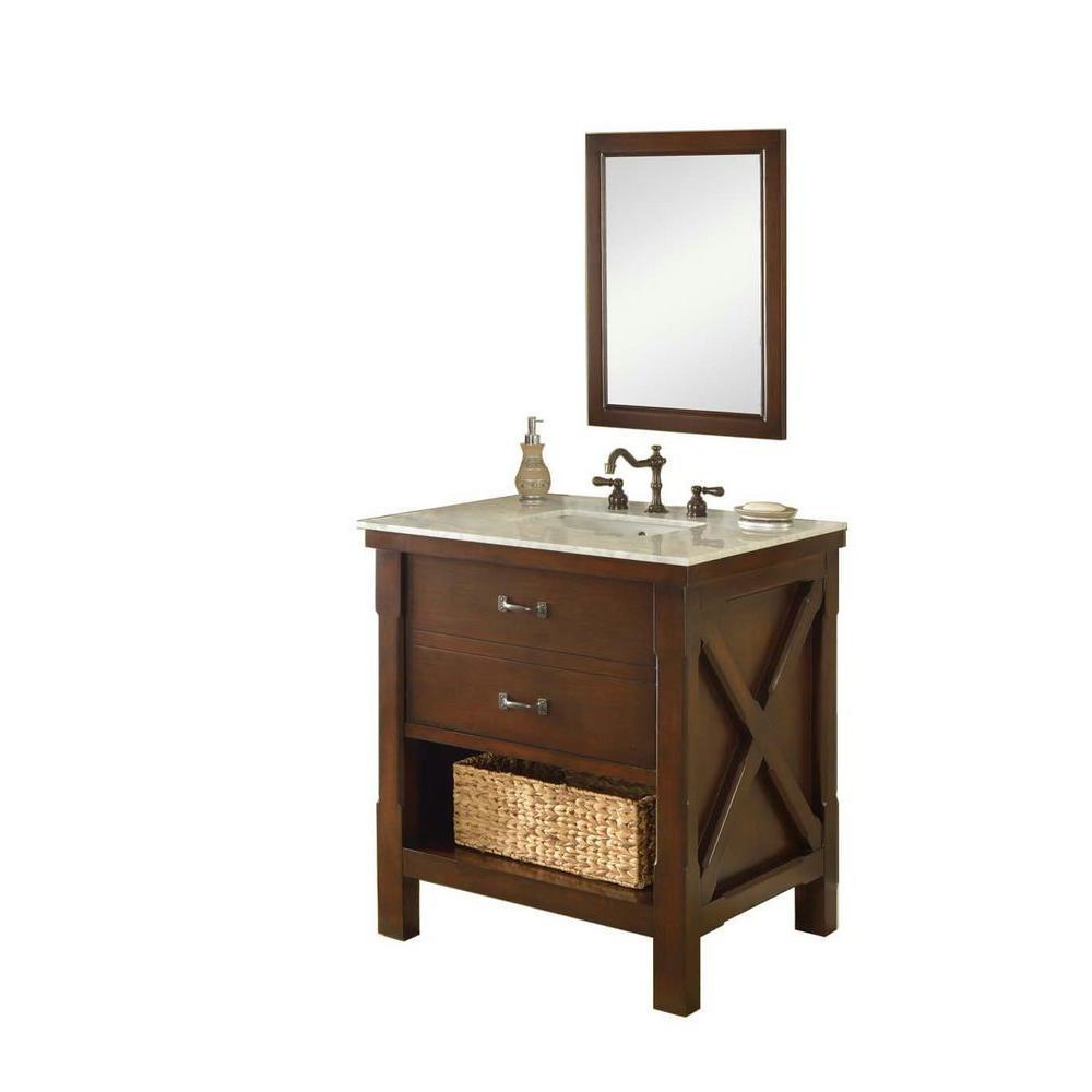 Xtraordinary Spa 32 in. Vanity in Dark Brown with Marble Vanity Top in Carrara White and Mirror