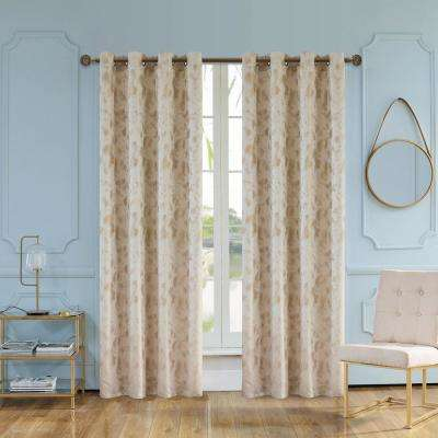 Skye 95 in. L x 54 in. W Semi-Opaque Room Darkening Polyester Curtain in Beige