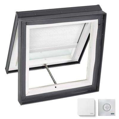 46-1/2 in. x 46-1/2 in. Venting Curb-Mount Skylight Laminated Low-E3 Glass White Solar Powered Room Darkening Blind
