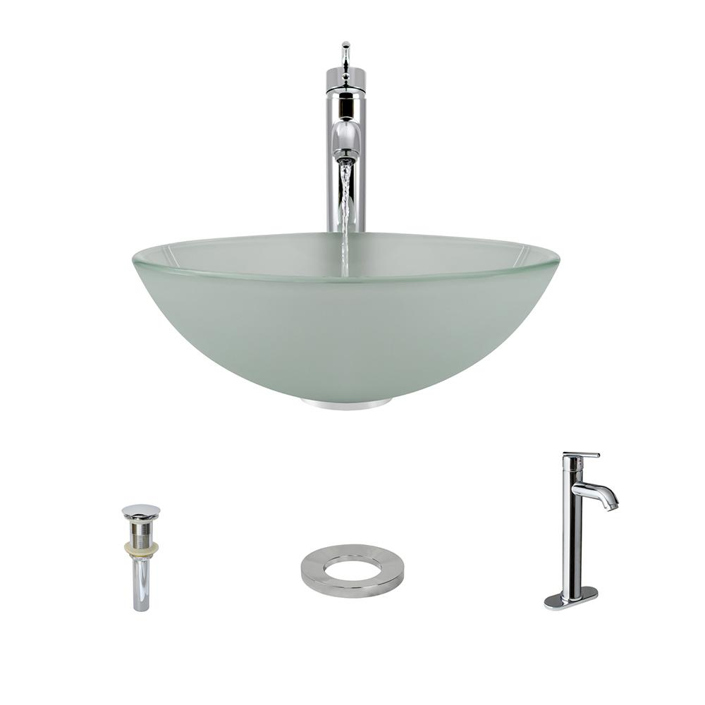 Glass Vessel Sink in Frost with 718 Faucet and Pop-Up Drain