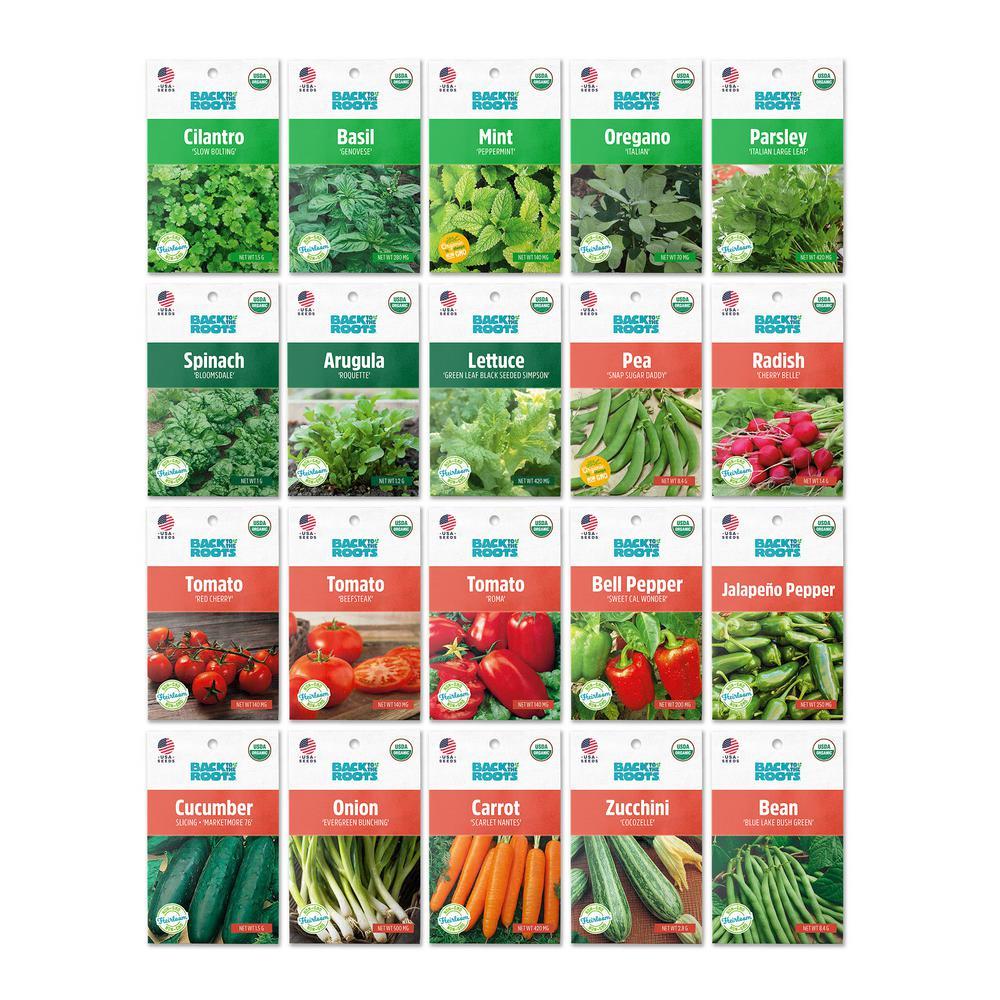 Organic Herbs and Veggie Seeds Variety (20-Pack)