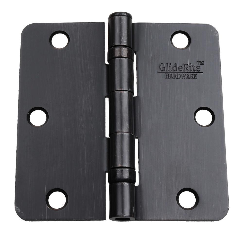 3-1/2 in. Oil Rubbed Bronze Steel Ball-Bearing Door Hinges 1/4 in. Corner Radius with Screws (24-Pack)