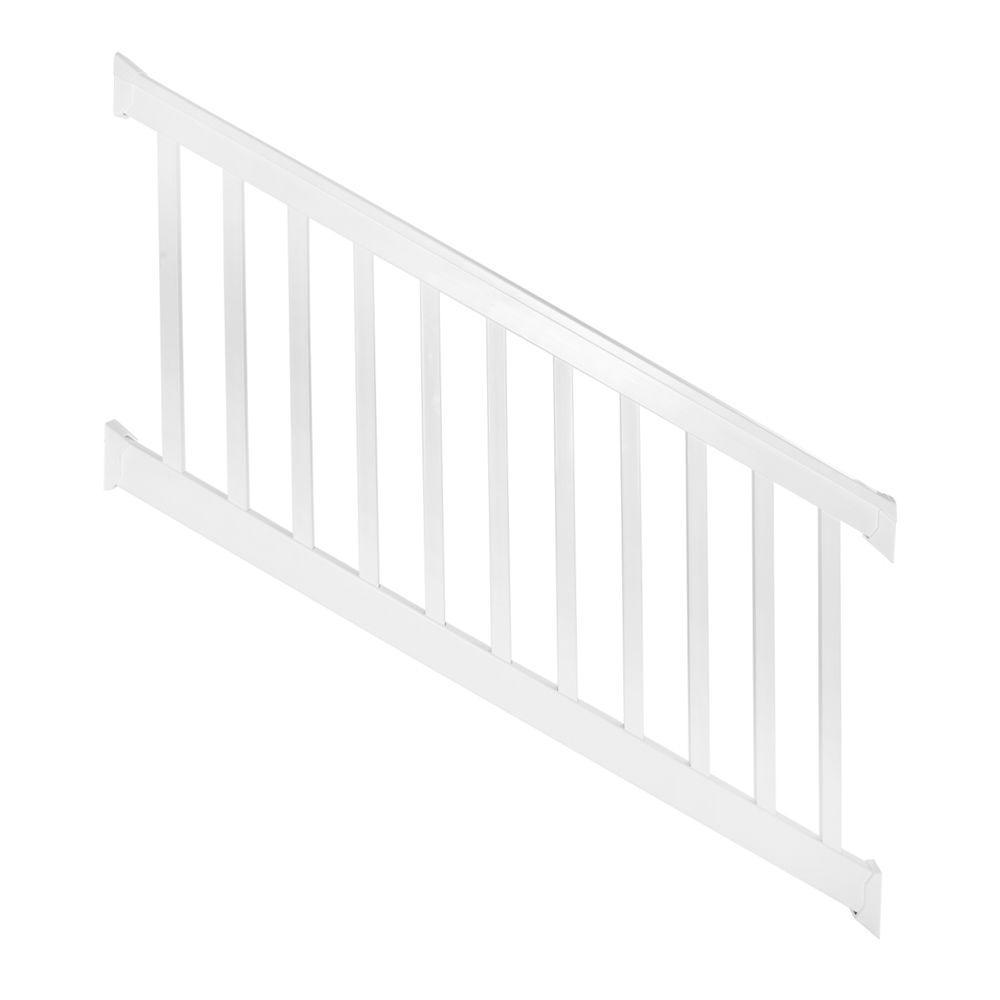 Weatherables Vanderbilt 3 ft. H x 96 in. W White Vinyl Stair Railing Kit