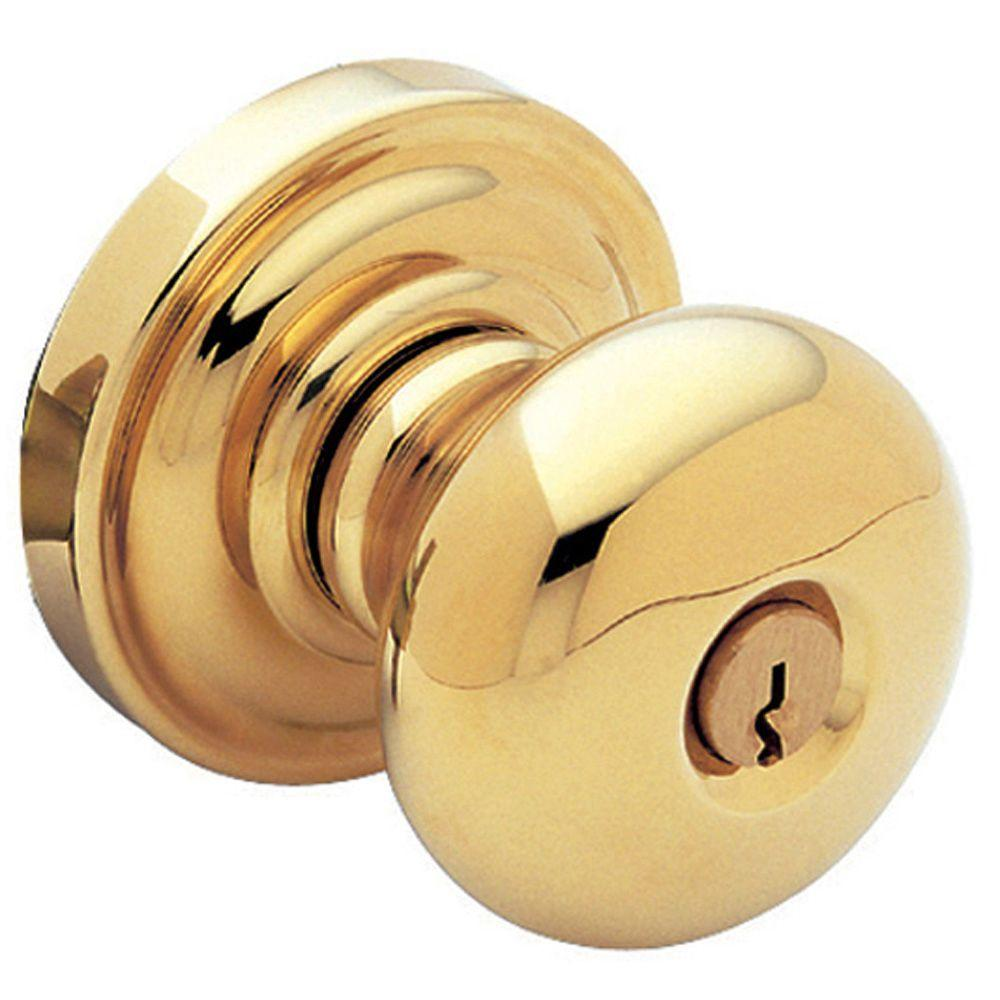 Classic Lifetime Polished Brass Keyed Entry Door Knob
