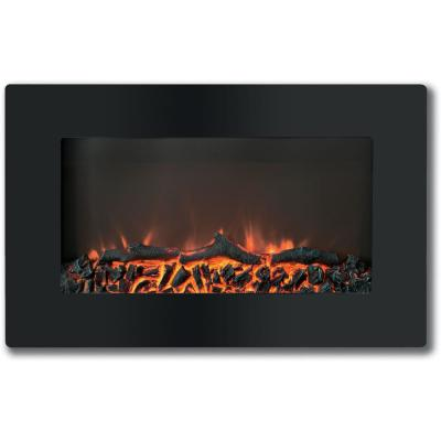 Callisto 30 in. Wall-Mount Electronic Fireplace with Flat-Panel and Realistic Logs in Black