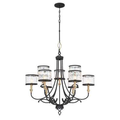 Wyndmere 9-Light Sand Black with Gold Highlights Chandelier with Water Glass Shades
