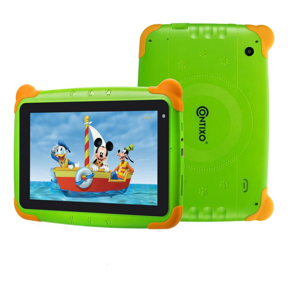 CONTIXO Kids Tablet K4 7 in. Display Android 6.0 Bluetooth Wi-Fi Camera Parental Control for Children Infant Toddlers in Green