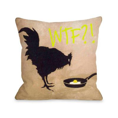 Chicken and Egg Tan Yellow Graphic Polyester 16 in. x 16 in. Throw Pillow