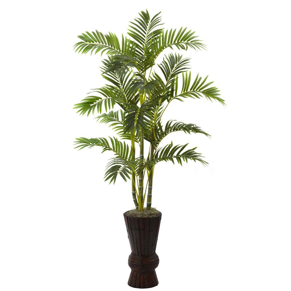 Nearly Natural 62 in. Areca Tree with Decorative Planter