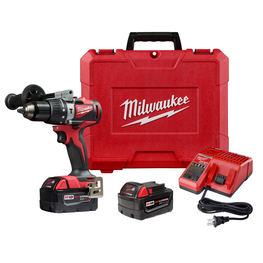 Milwaukee M18 18-Volt Lithium-Ion Brushless Cordless 1/2 in. Compact Hammer Drill/Driver Kit w/Two 4.0Ah Batteries and Hard Case