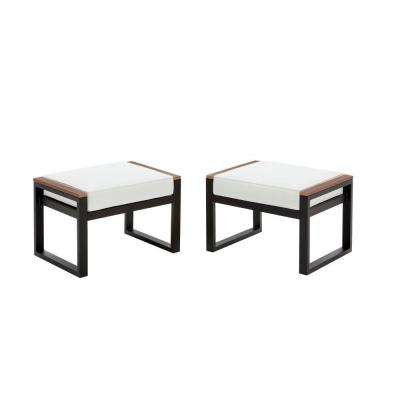West Park Black Aluminum Outdoor Patio Ottoman with Bare Cushions