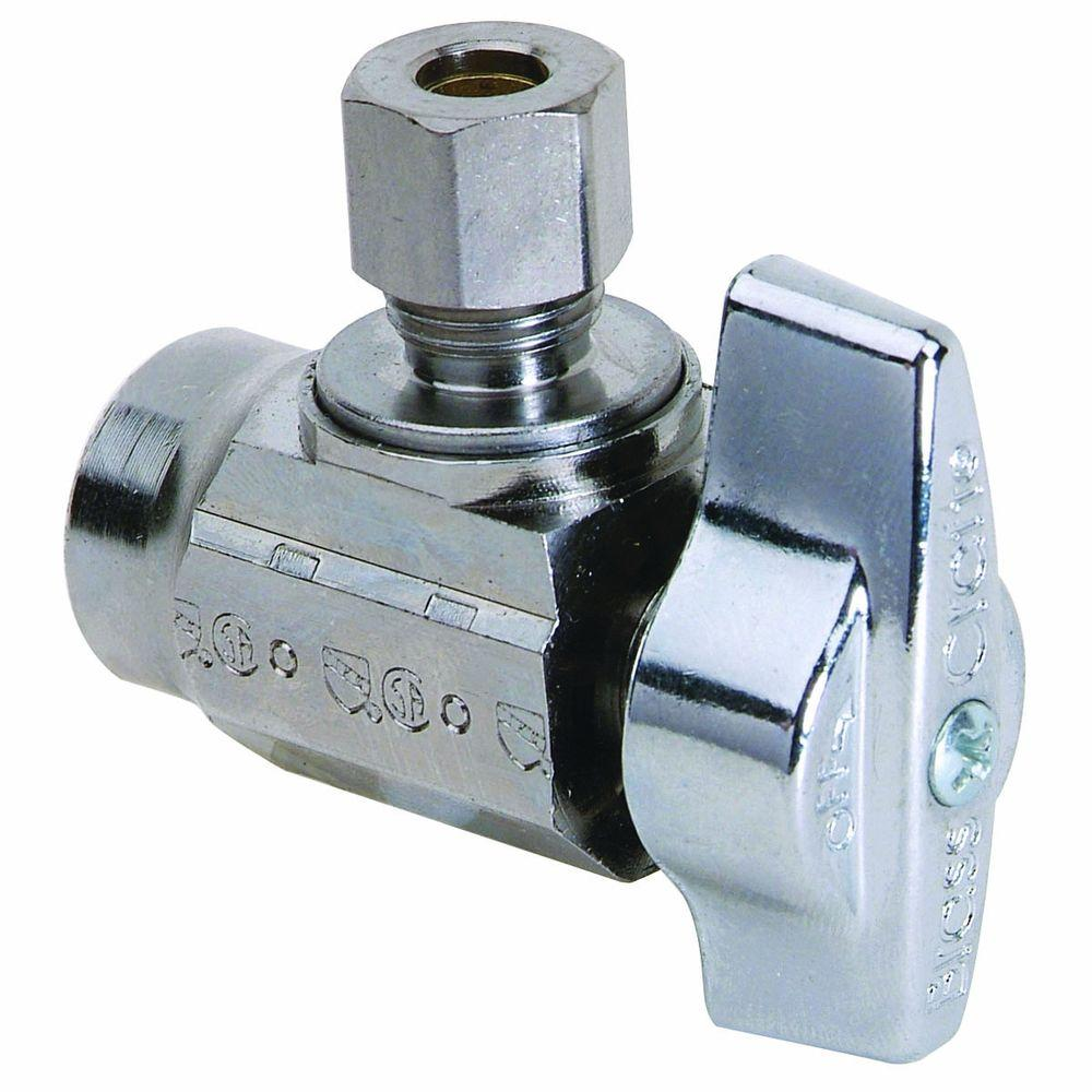 BrassCraft 1/2 in. Nominal Sweat Inlet x 1/4 in. O.D. Compression Outlet Brass 1/4-Turn Angle Ball Valve (5-Pack)