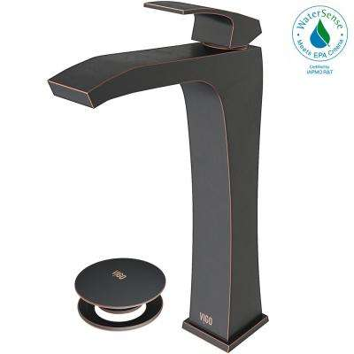 Blackstonian Single Hole Single-Handle Vessel Bathroom Faucet with Pop-Up Drain in Antique Rubbed Bronze