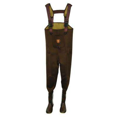 Mens Size 10 Neoprene Insulated Reinforced Knee Adjustable Suspender Cleated Chest Wader in Brown