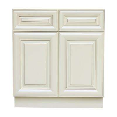 Plywell Holden Ready to Assemble 36x34.5x24 in. Base Cabinet with 2-Door and 2-Drawer in Antique White