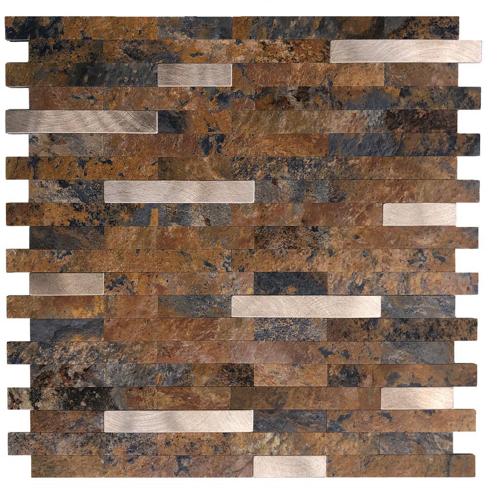 DIP Rust Slate Silver Tile 11.5 in. x 11.5 in. Self-Adhesive PVC Backsplash (10 pack)