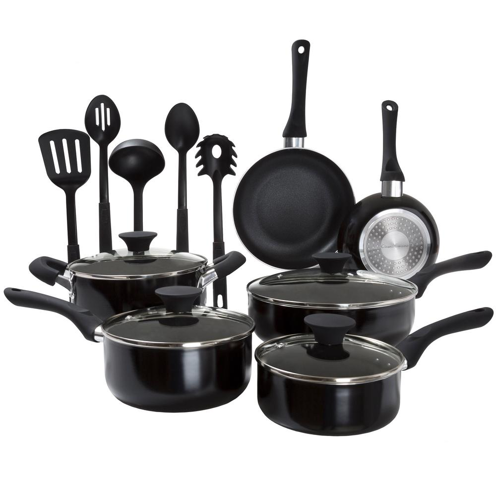 Classic Cuisine 15-Piece Aluminum-Shield Nonstick Cookware Set with Lids