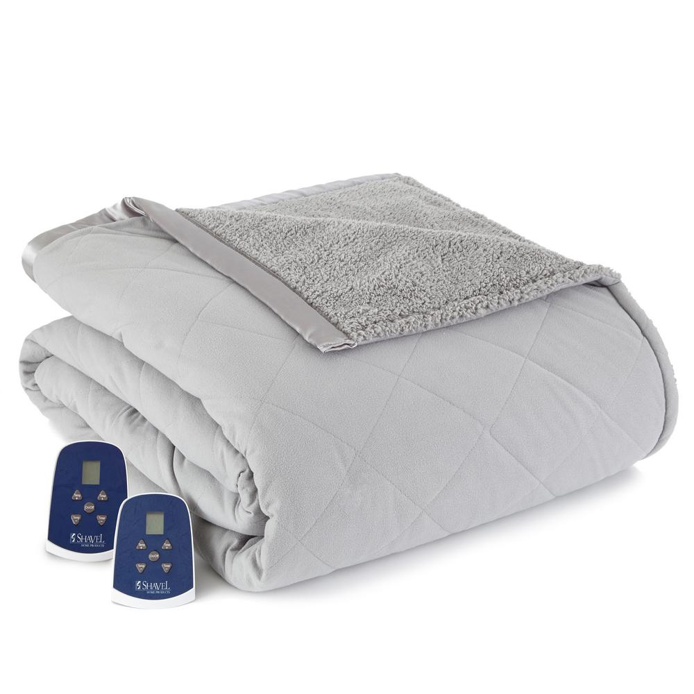 Reverse to Sherpa King Greystone Electric Heated Blanket