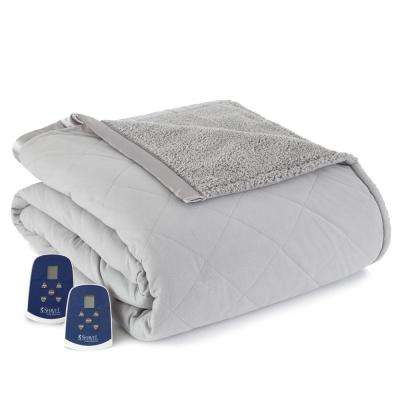 Reverse to Sherpa Queen Greystone Electric Heated Blanket