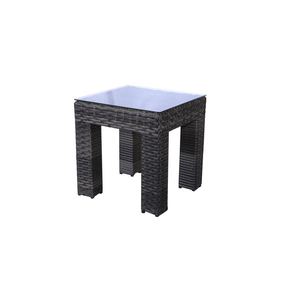 Bora Bora Brown Wicker 20 in. Square Outdoor Patio Side Table