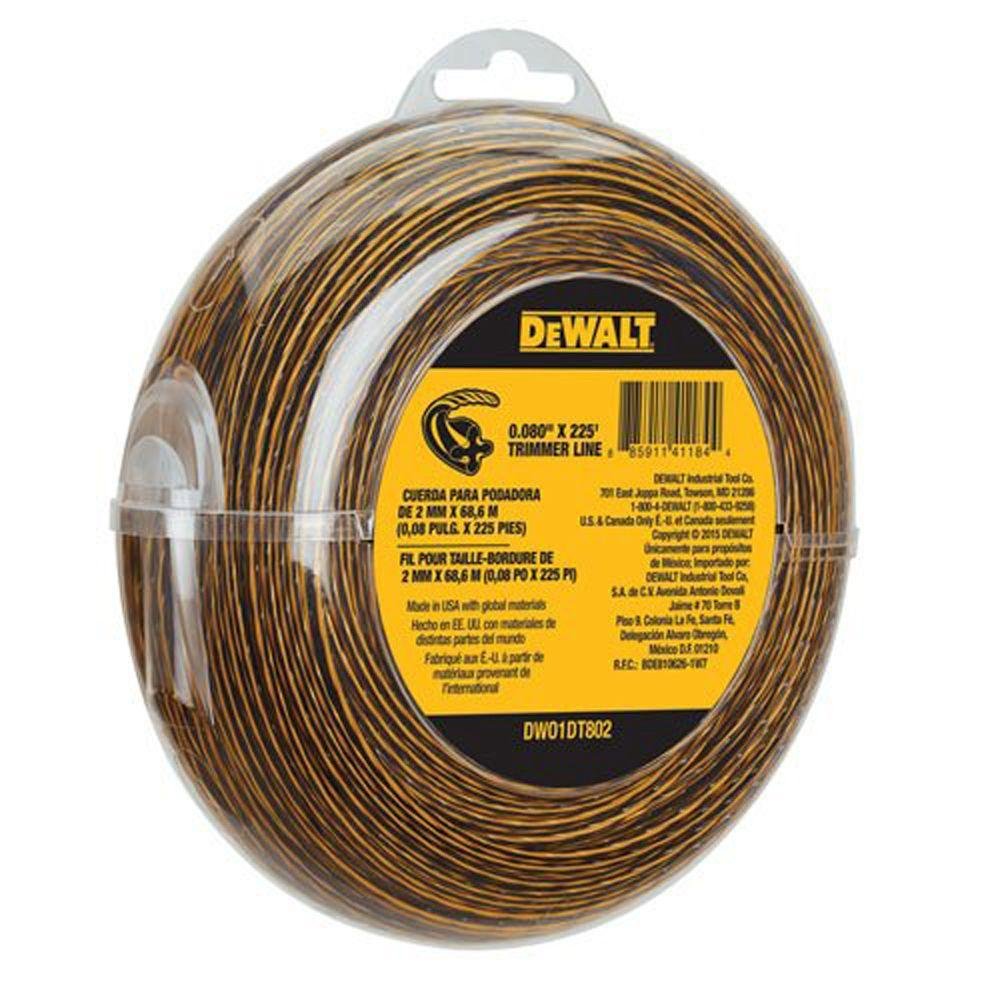 DeWalt DEWALT 0.080 in. x 225 ft. Replacement Line for Cordless Battery Operated Bump Feed String Grass Trimmer/Lawn Edger