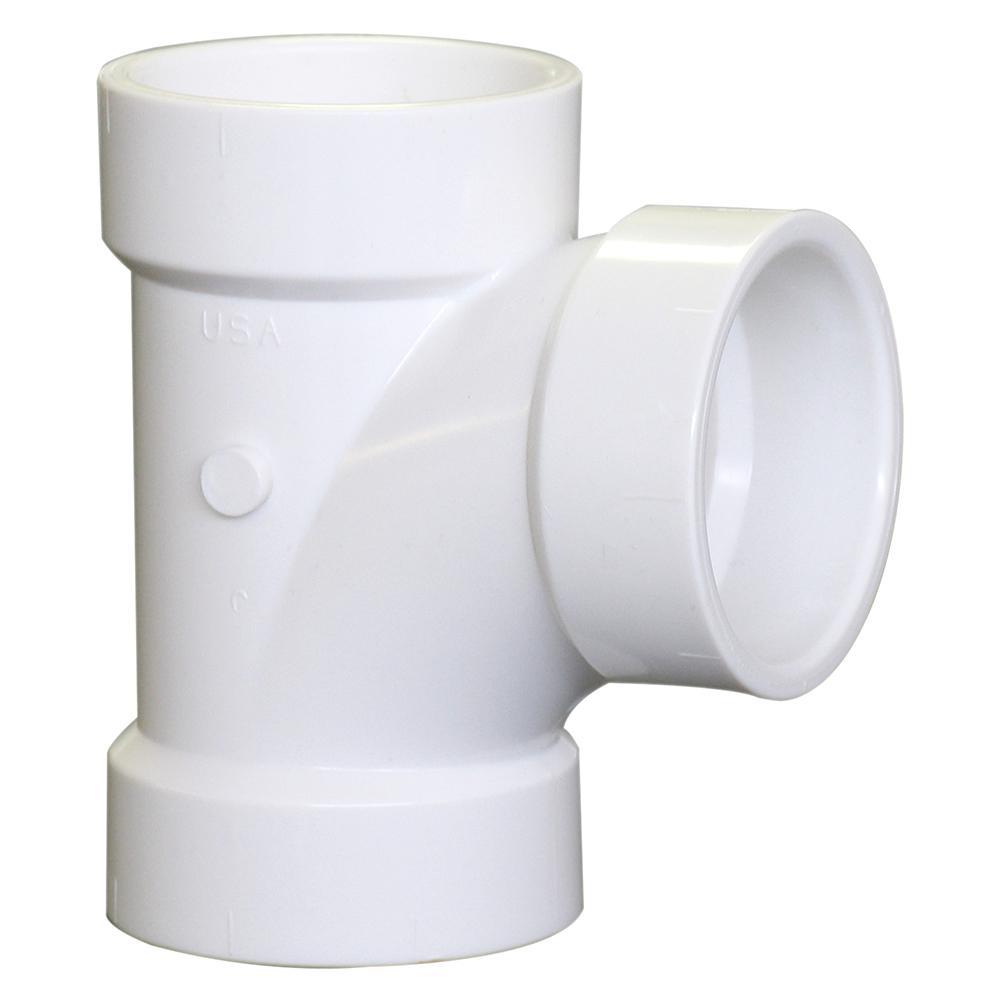 3 in. x 3 in. x 2 in. PVC DWV All-Hub Sanitary Tee Fitting