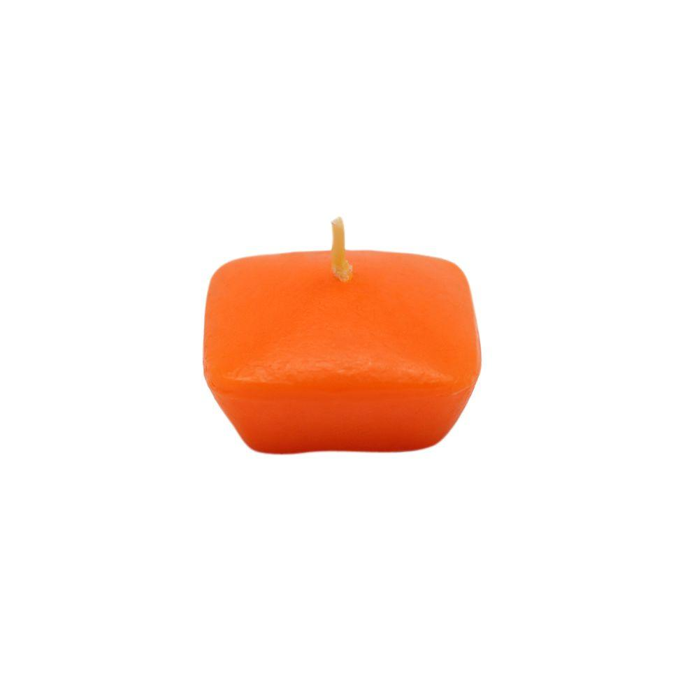 Zest Candle 1.75 in. Orange Square Floating Candles (12-Box)