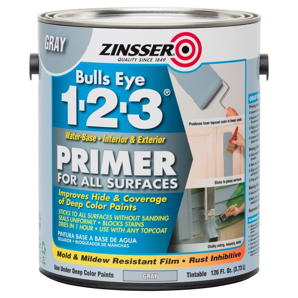 Zinsser Bulls Eye 1 2 3 1 Gal Water Based Gray Interior Exterior Primer And Sealer 285085 The