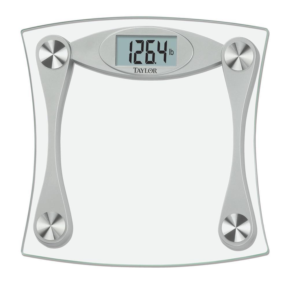 lcd digital bath scale in glass and grey