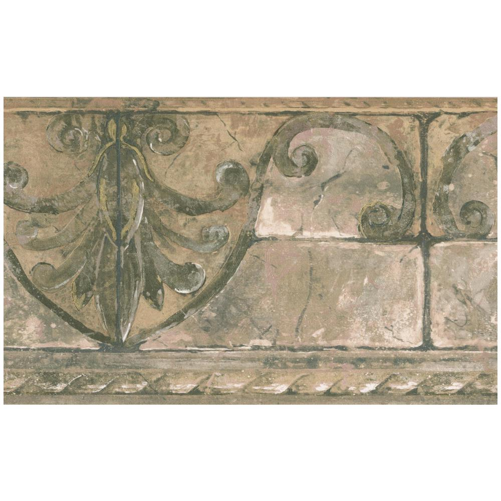 Faux Bricks with Seahorse Seashell Beige Retro Design Wallpaper Border MKB5094