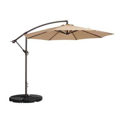 10 ft. Aluminum Cantilever Tilt Patio Umbrella in Beige