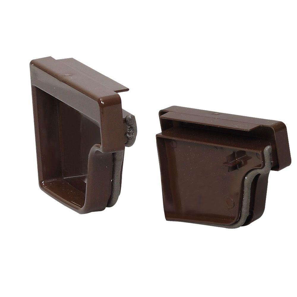 Amerimax Home Products Brown Vinyl K Style End Cap Set