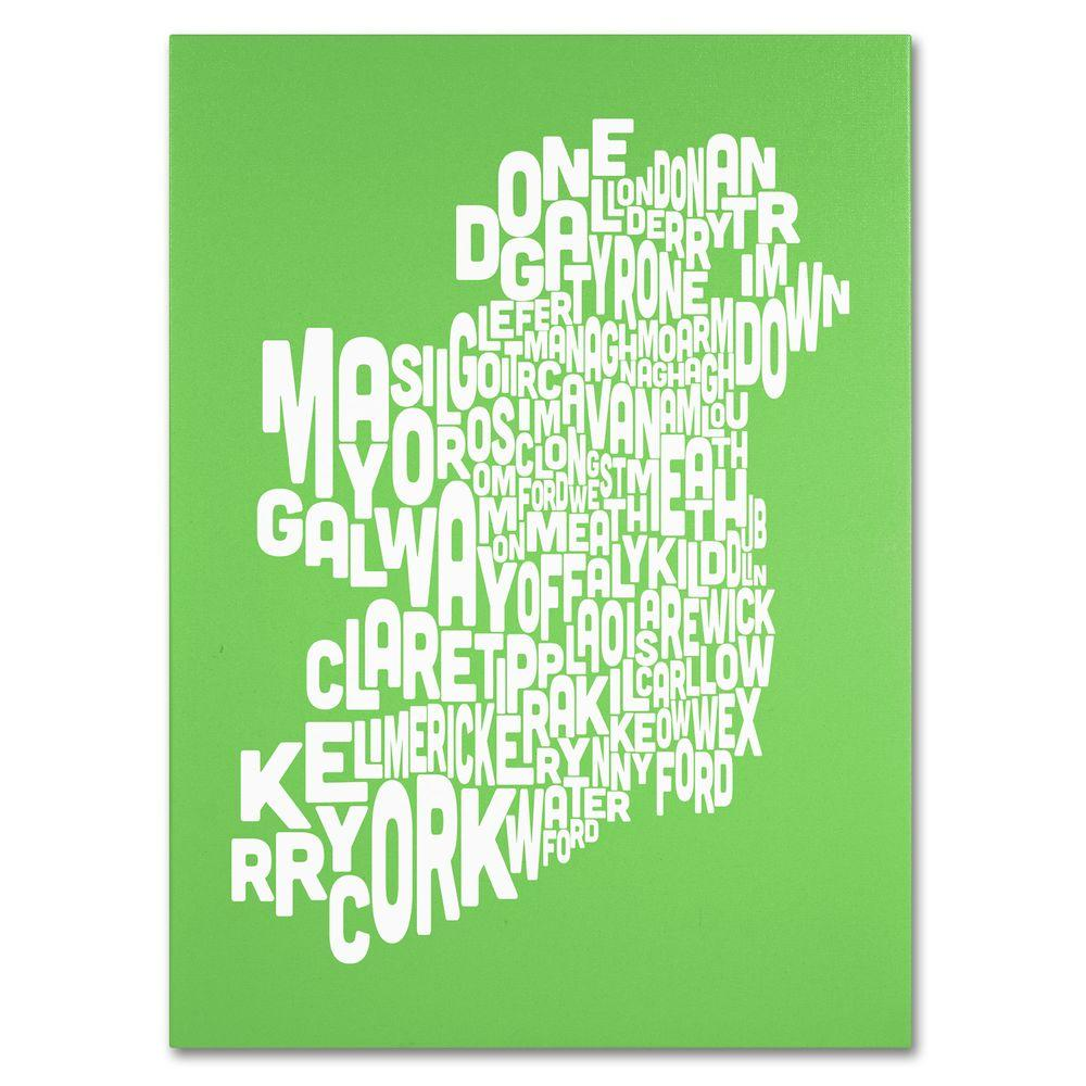 Map Of Ireland 32.Trademark Fine Art 24 In X 32 In Ireland Text Map Lime Canvas