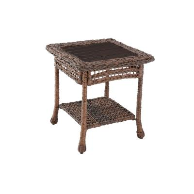 Modern Concept Faux Sea Grass Resin Rattan Wicker Outdoor Side Table